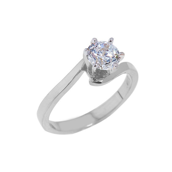 White Gold Round Cut Cubic Zirconia Engagement Ring