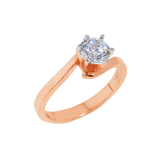 Rose Gold Round Cut Cubic Zirconia Engagement Ring
