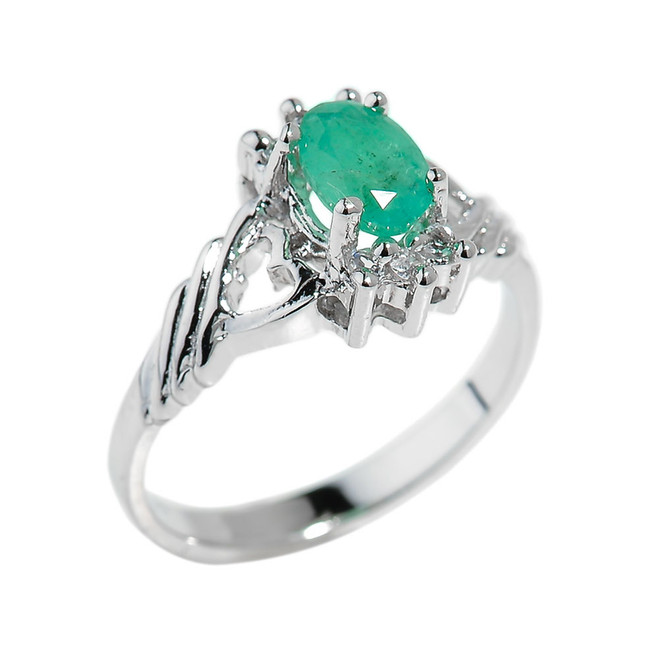 Sterling Silver Oval Shaped Emerald Gemstone Ladies Ring