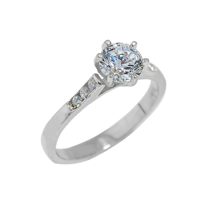 White Gold Engagement Ring with Cubic Zirconia