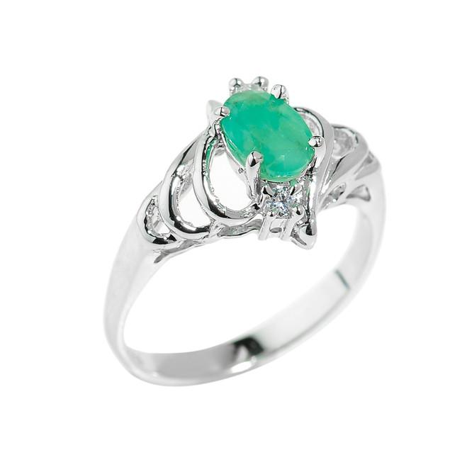 Sterling Silver May Birthstone Emerald Ring