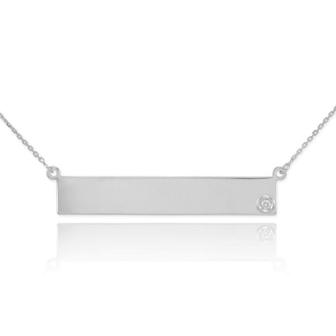 Sterling Silver Engravable Name Bar Necklace with CZ