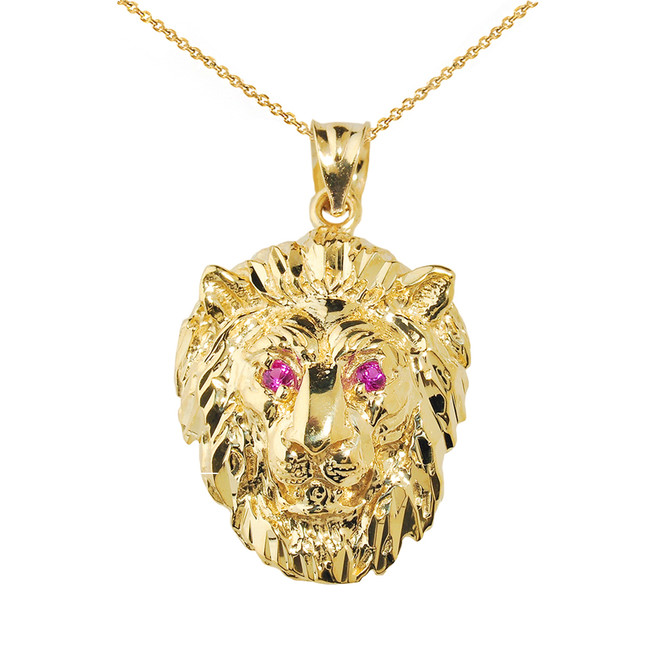 Solid Yellow Gold Diamond Cut Lion Head Pendant Necklace