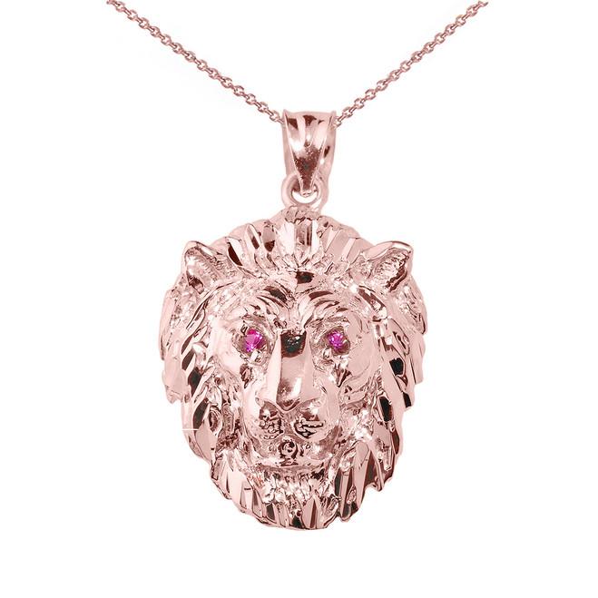 Solid Rose Gold Diamond Cut Lion Head Pendant Necklace