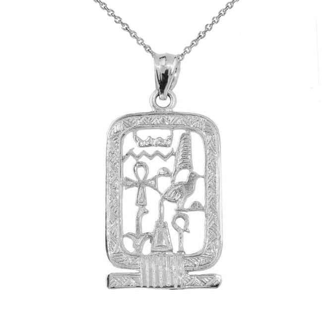 White Gold Open Style Cartouche Pendant