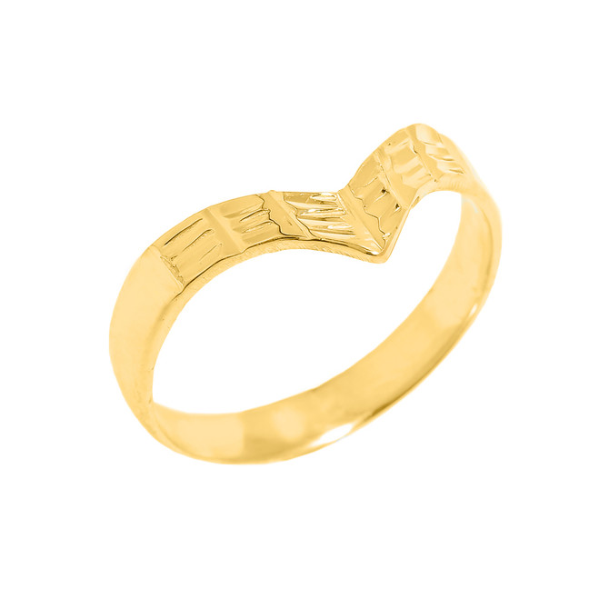 Solid Yellow Gold Diamond-Cut Thumb Ring