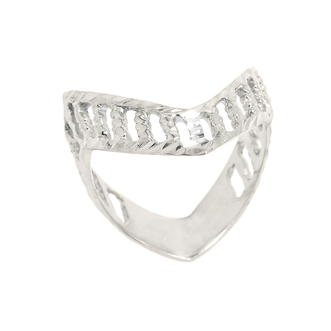 Solid White Gold Diamond-Cut Open Work Thumb Ring