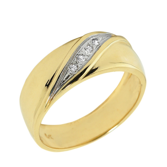 Solid Yellow Gold Men's Diamond Wedding Band