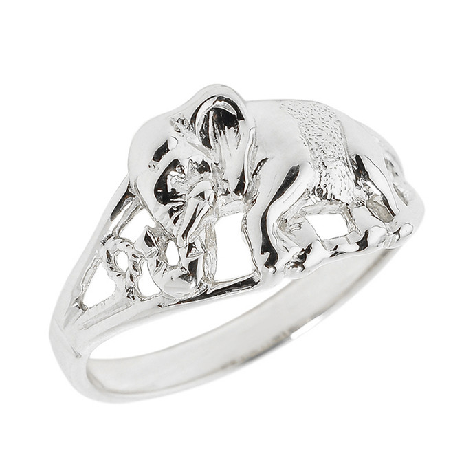 Solid White Gold Openwork Elephant Ring