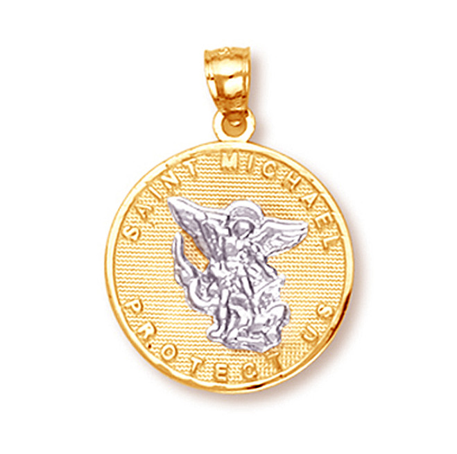 Two Tone Gold Saint Michael Pendant