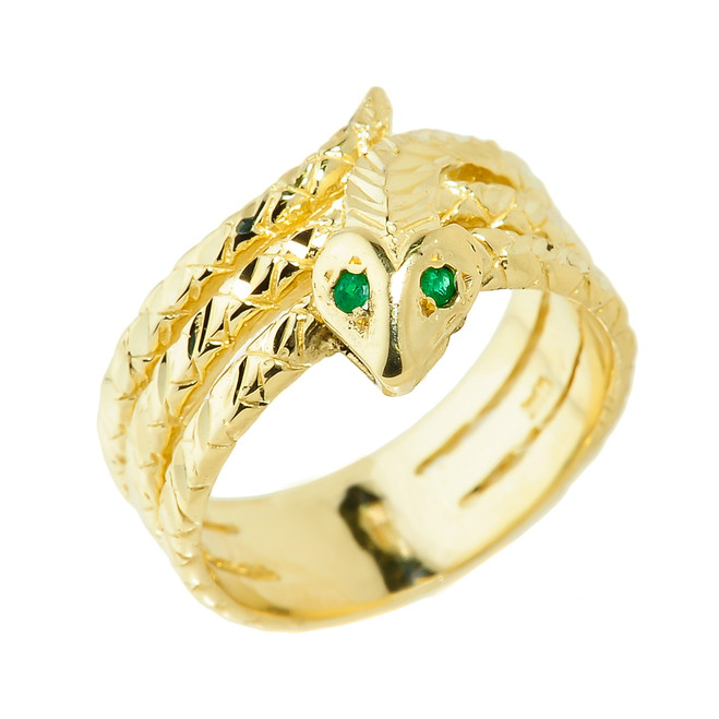 Yellow Gold Diamond-Cut Coiled Snake Ring