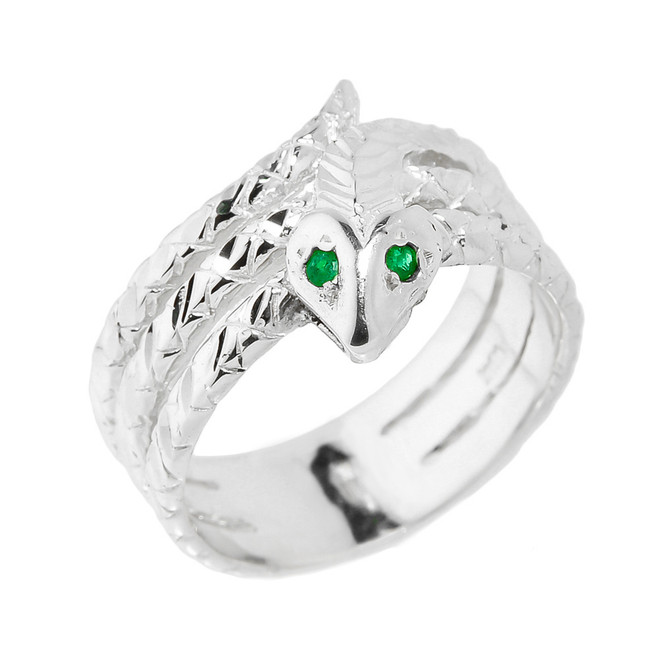 Sterling Silver Diamond-Cut Coiled Snake Ring