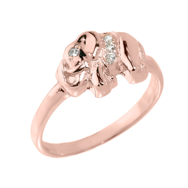 Solid Rose Gold CZ Studded Elephant Ring