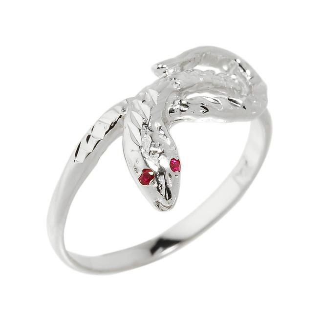 White Gold Diamond-Cut Snake Ring