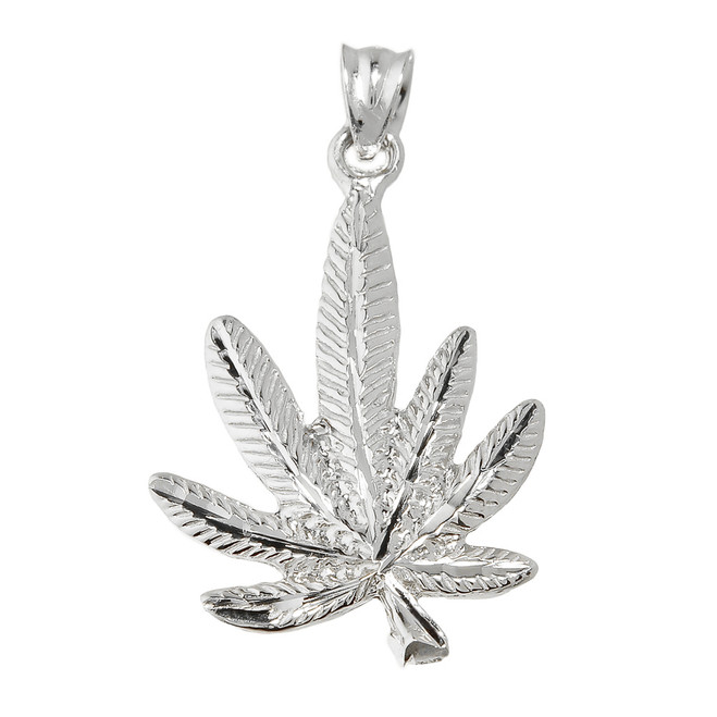 White Gold Marijuana Charm Pendant