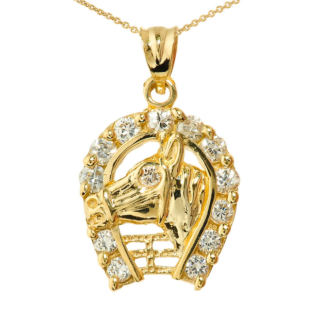 Yellow Gold CZ Horseshoe with Horse Head Charm Pendant Necklace