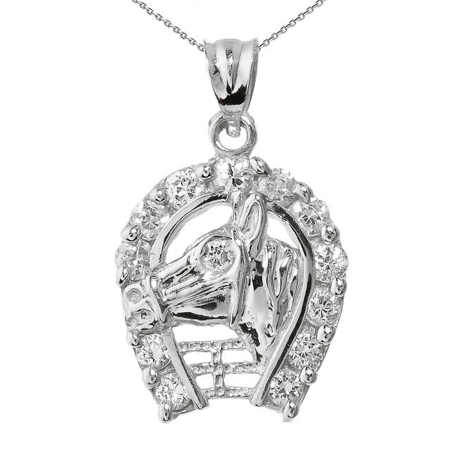 White Gold CZ Horseshoe with Horse Head Charm Pendant Necklace