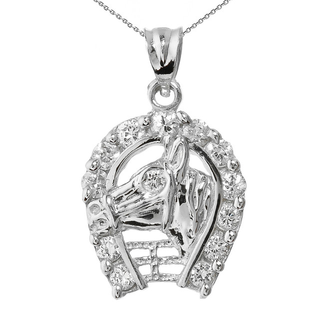 Sterling Silver Horseshoe with Horse Head Charm Pendant