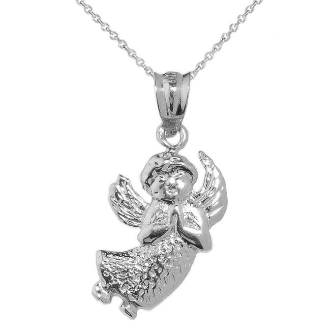 White Gold Angel Charm Pendant