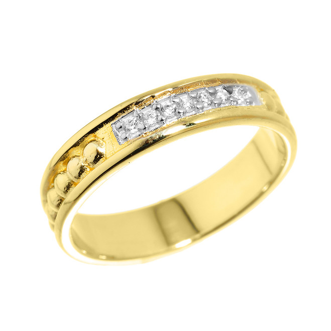 Yellow Gold Unisex Diamond Anniversary Wedding Classic Band