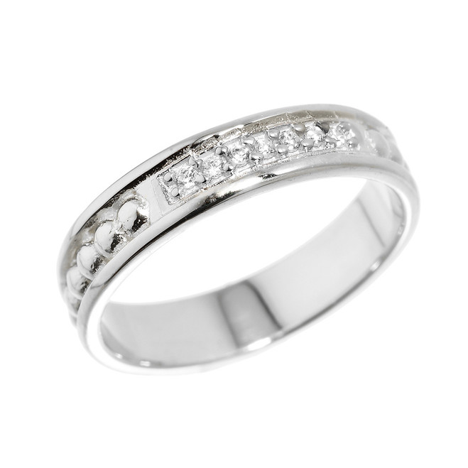 Sterling Silver Unisex Diamond Wedding Band