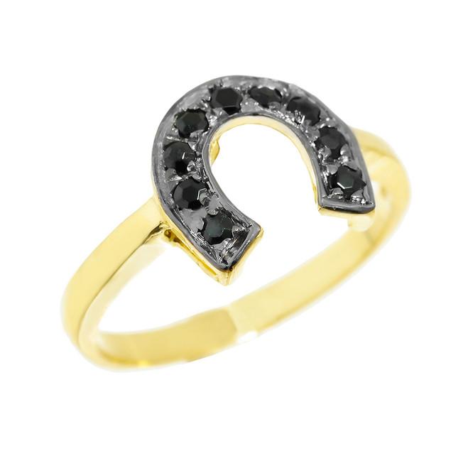 Yellow Gold Black Diamond Horseshoe Ladies Ring