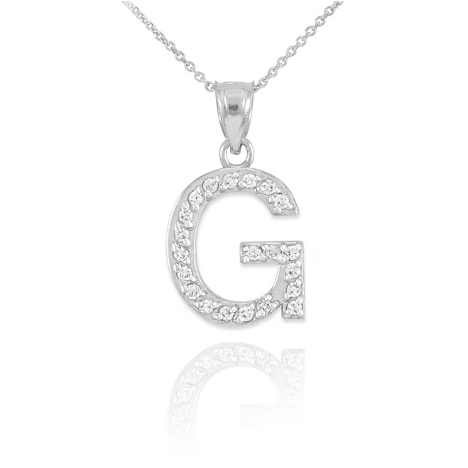 "Sterling Silver Letter ""G"" CZ Initial Pendant Necklace"