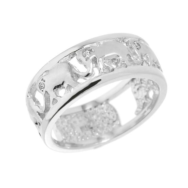 Solid White Gold Openwork Diamond Elephant Ring