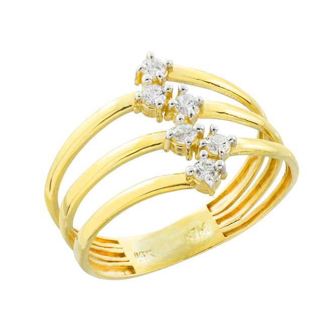Gold Three-Band CZ Ring