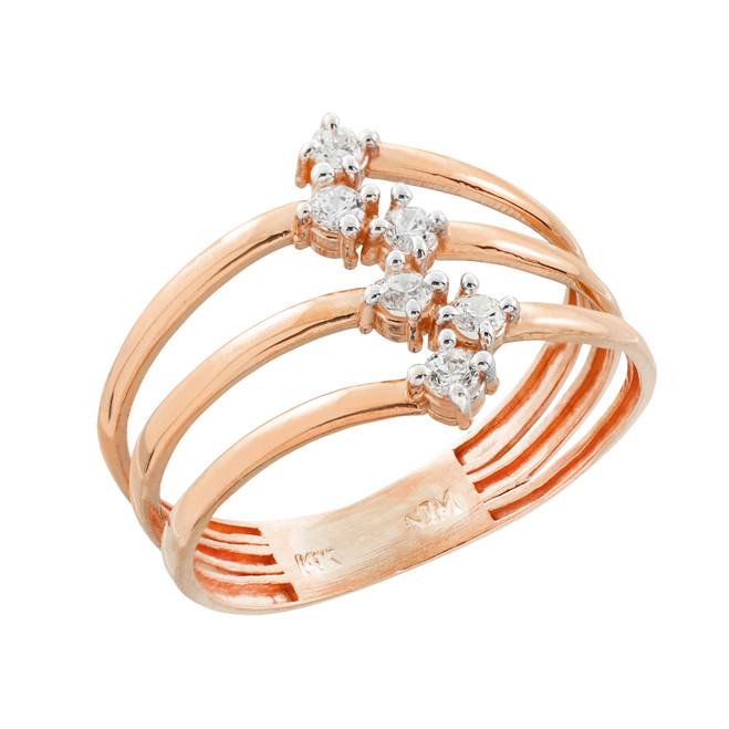 Rose Gold Three-Band CZ Ring