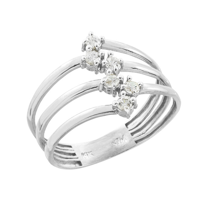 Sterling Silver Three-Band CZ Ring