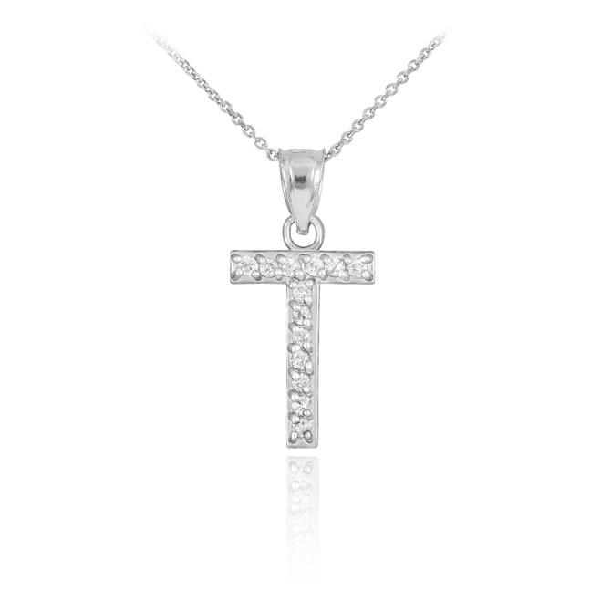 """Sterling Silver Letter """"T"""" CZ Initial Pendant Necklace"""
