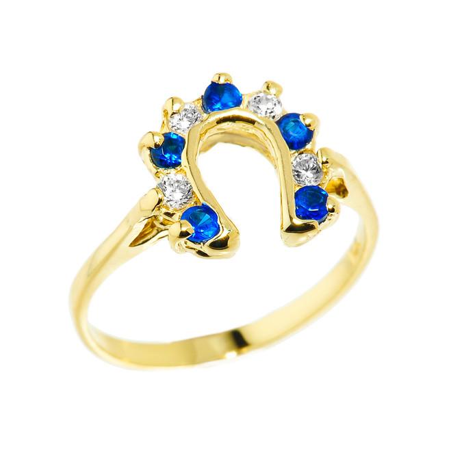 Yellow Gold White and Blue CZ Ladies Horseshoe Ring