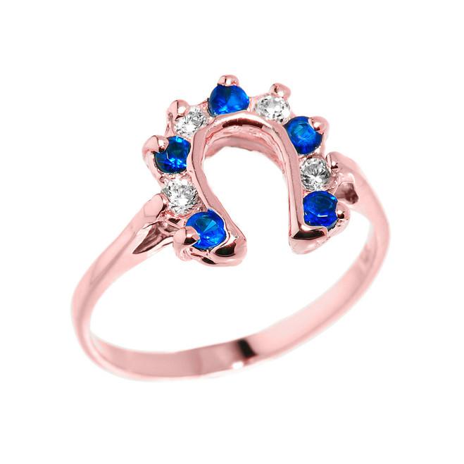 Rose Gold White and Blue CZ Ladies Horseshoe Ring
