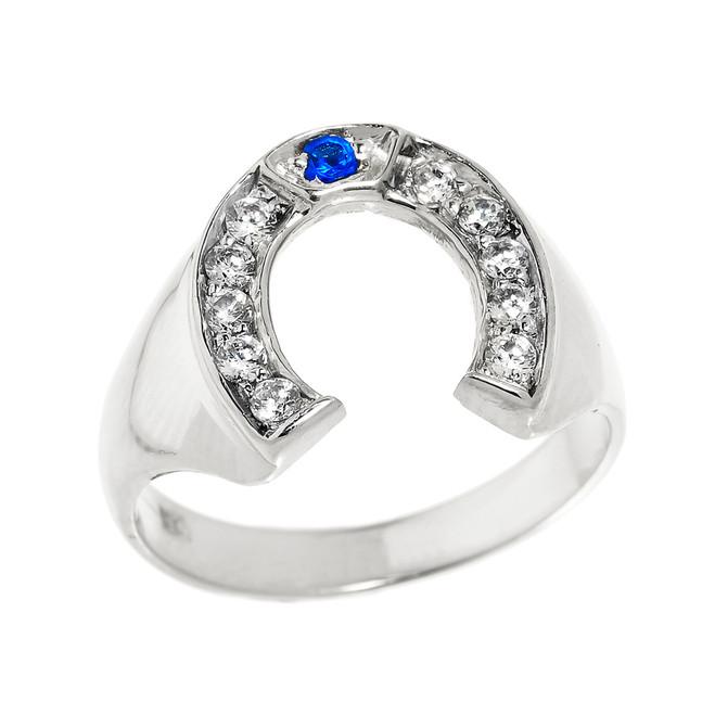 Bold White Gold White and Blue CZ Men's Horseshoe Ring