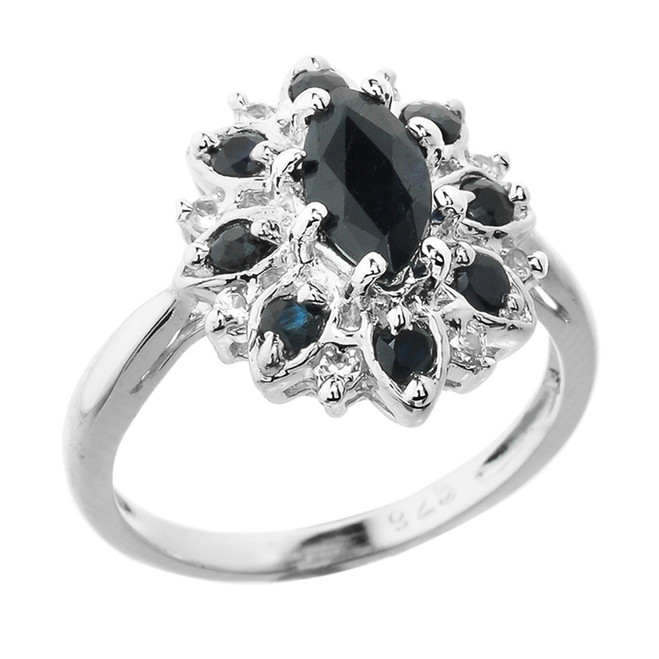 Beautiful Sterling Silver Black and Blue Sapphire Ladies Gemstone Ring