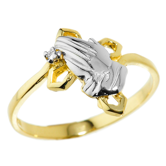 Yellow Gold Praying Hands Diamond Ring