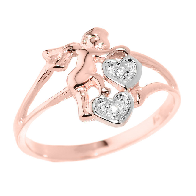Rose Gold Angel with Diamond and Hearts Ladies Ring