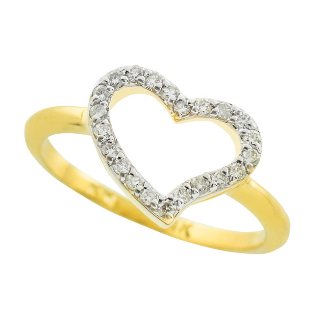 Gold CZ Heart Ring