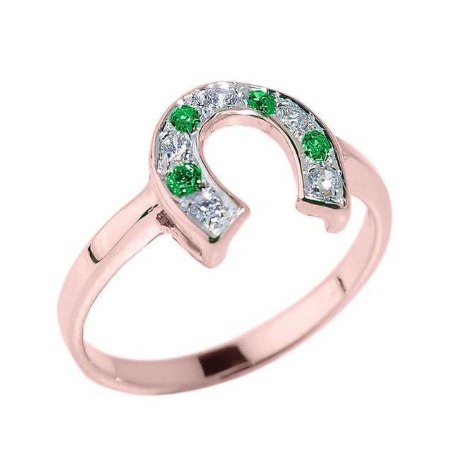 Rose Gold White and Green CZ Ladies Horseshoe Ring
