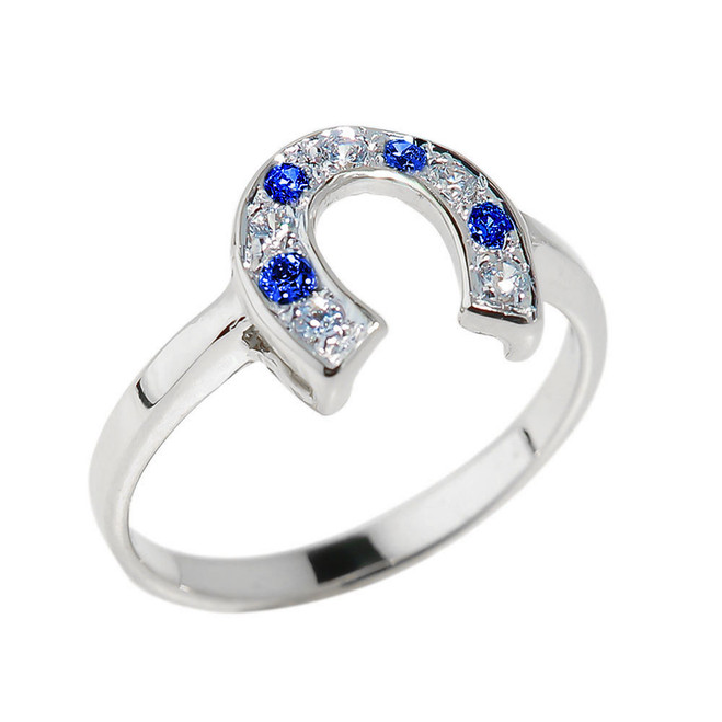 Sterling Silver White and Blue CZ Horseshoe Ring