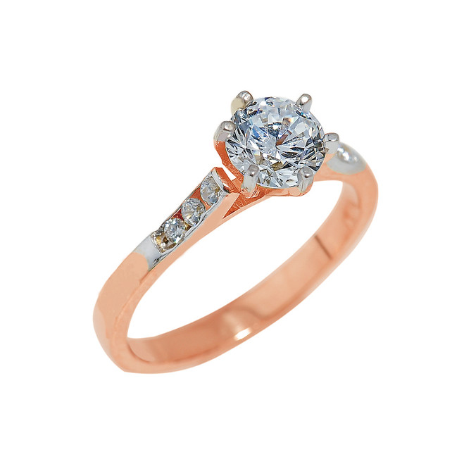 Rose Gold Engagement Ring with Cubic Zirconia