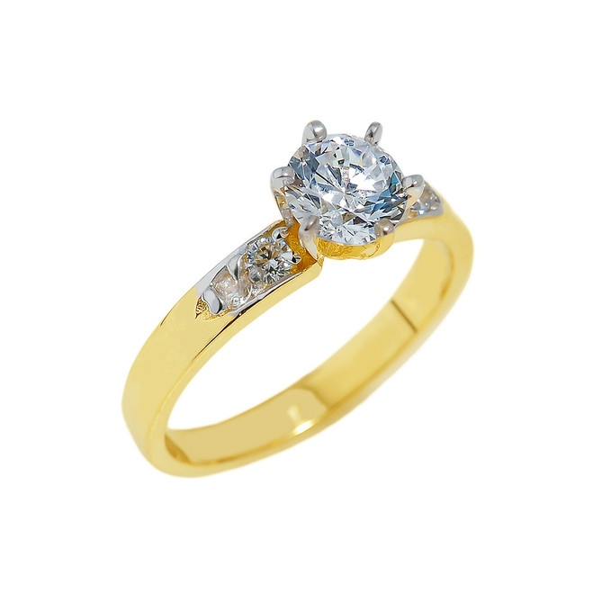 Gold Engagement Ring with CZ