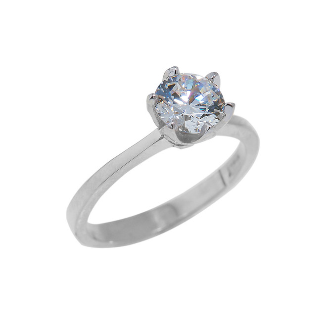 Solid White Gold CZ Engagement Ring