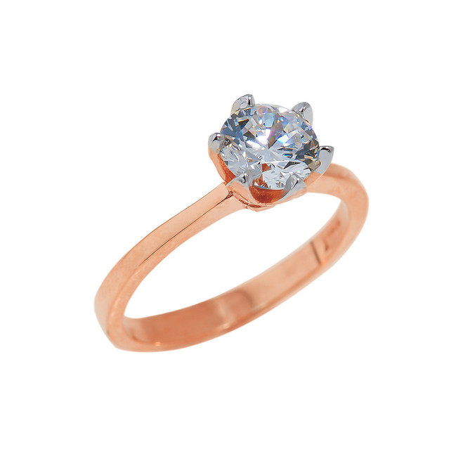 Solid Rose Gold CZ Engagement Ring
