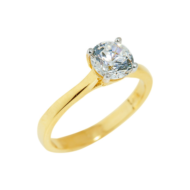 Gold Engagement CZ Ring