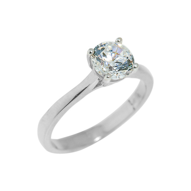 White Gold Engagement CZ Ring