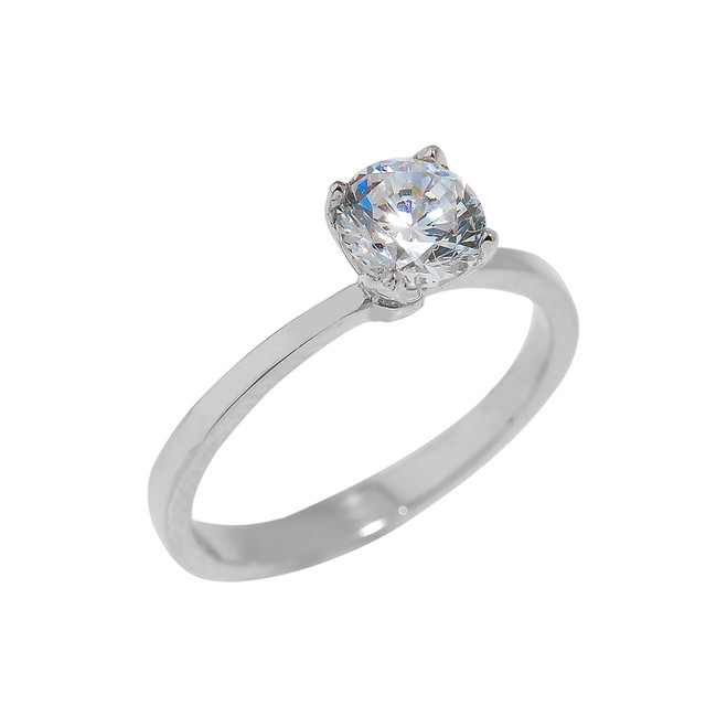 Sterling Silver CZ Ladies Engagement Ring