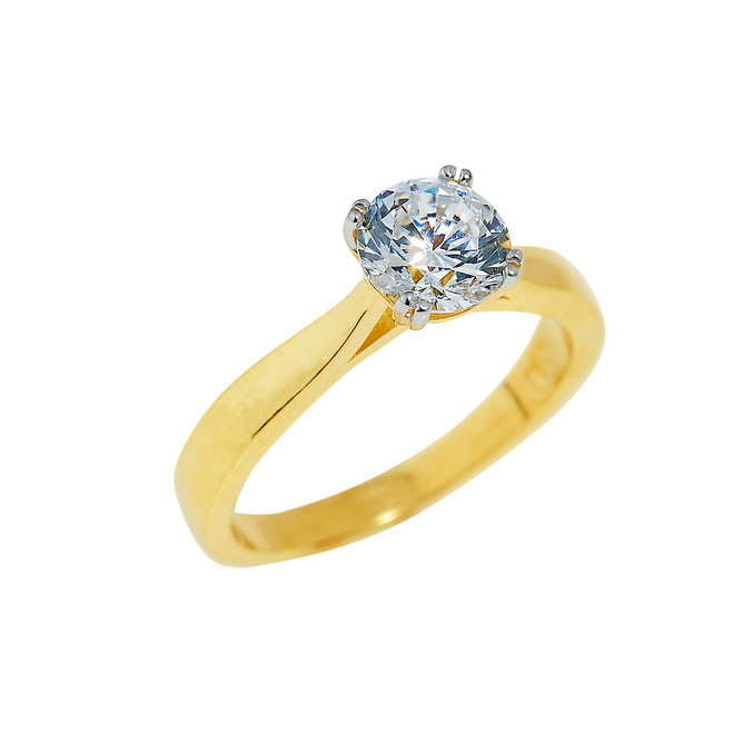 Gold Ladies Engagement Ring with CZ