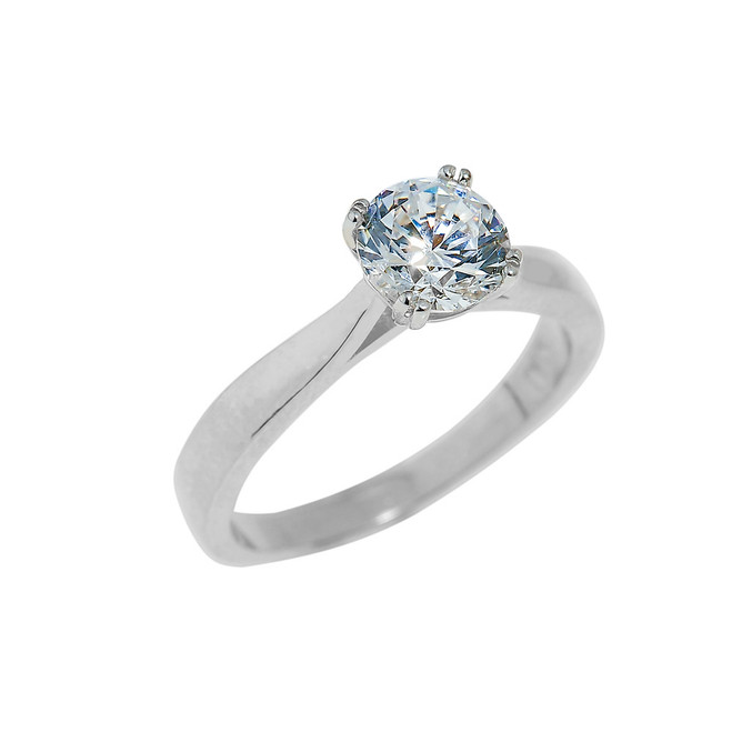 White Gold Ladies Engagement Ring with CZ